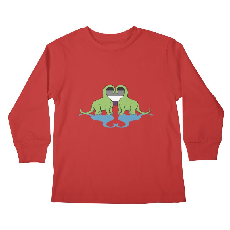 Ace Pride - Dino Love Kids Longsleeve T-Shirt by alrkeaton's Artist Shop