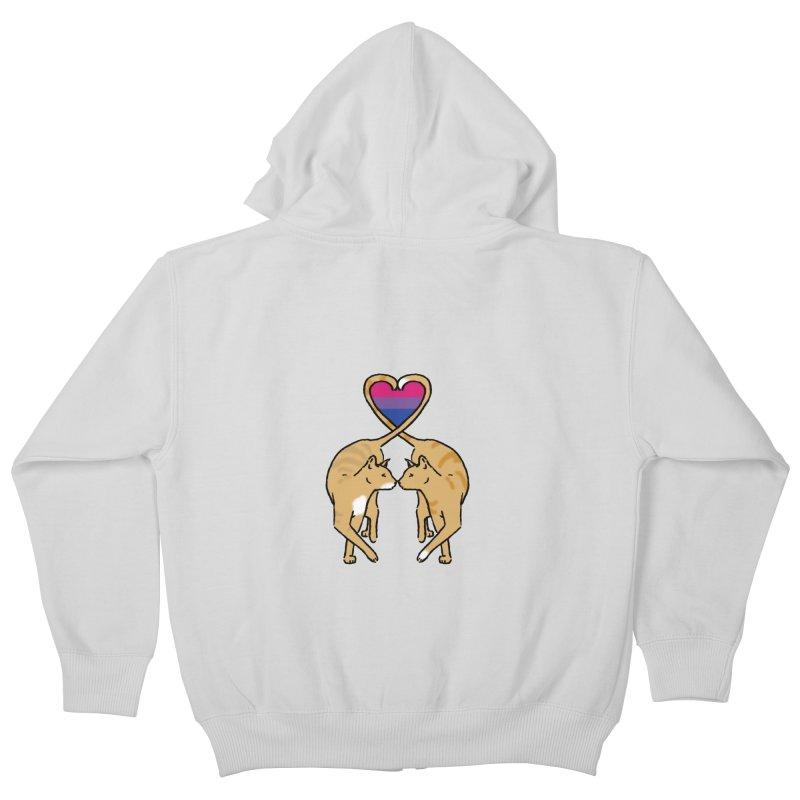 Bi Pride - Love Cats Kids Zip-Up Hoody by alrkeaton's Artist Shop