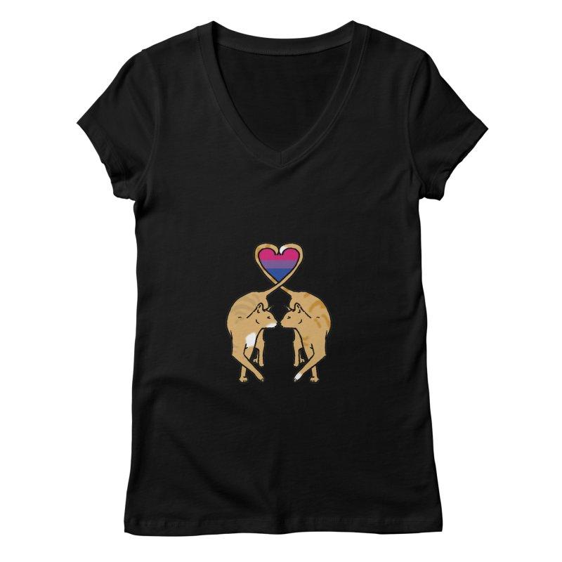 Bi Pride - Love Cats Women's Regular V-Neck by alrkeaton's Artist Shop