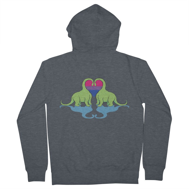 Bi Pride - Dino Love Men's Zip-Up Hoody by alrkeaton's Artist Shop