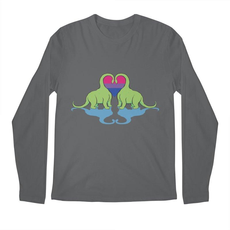 Bi Pride - Dino Love Men's Longsleeve T-Shirt by alrkeaton's Artist Shop