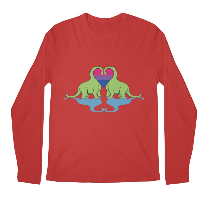 Bi Pride - Dino Love Men's Longsleeve T-Shirt by alrkeaton's Artist Shop
