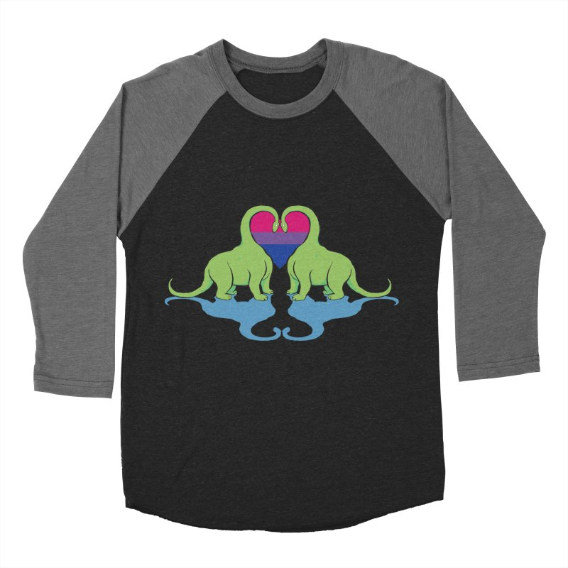 Bi Pride - Dino Love Men's Baseball Triblend Longsleeve T-Shirt by alrkeaton's Artist Shop
