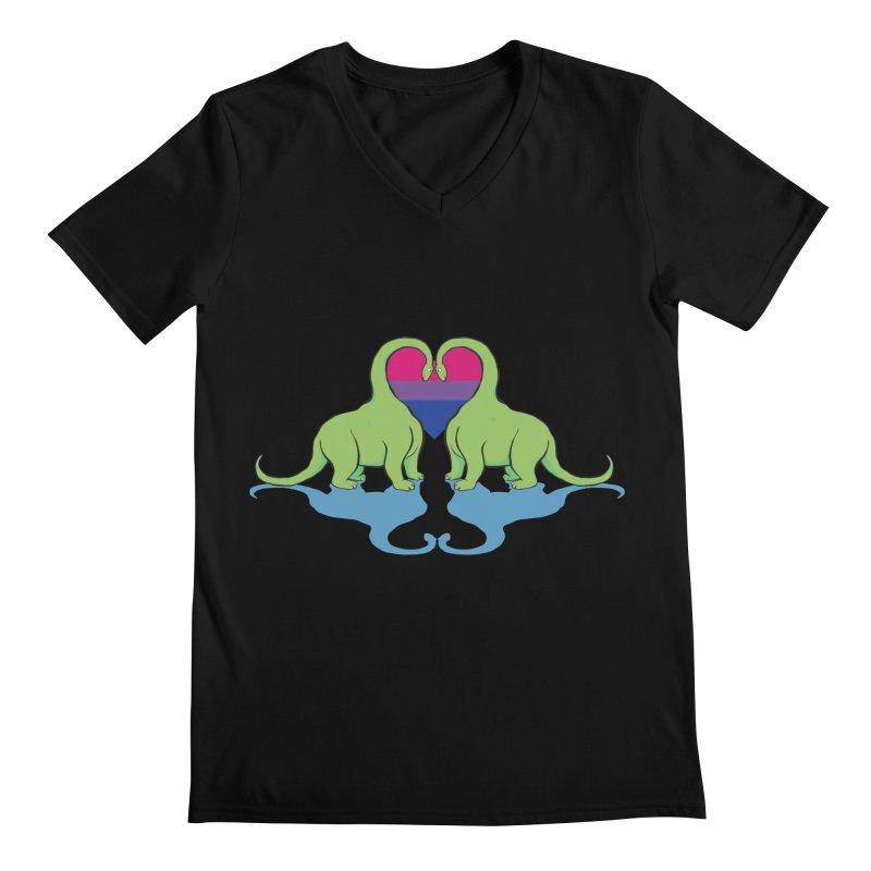 Bi Pride - Dino Love Men's V-Neck by alrkeaton's Artist Shop