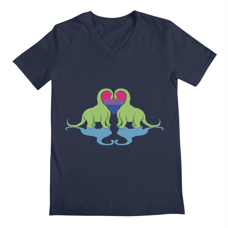 Bi Pride - Dino Love Men's Regular V-Neck by alrkeaton's Artist Shop
