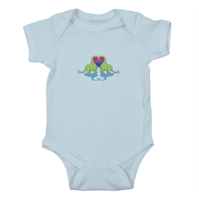 Bi Pride - Dino Love Kids Baby Bodysuit by alrkeaton's Artist Shop
