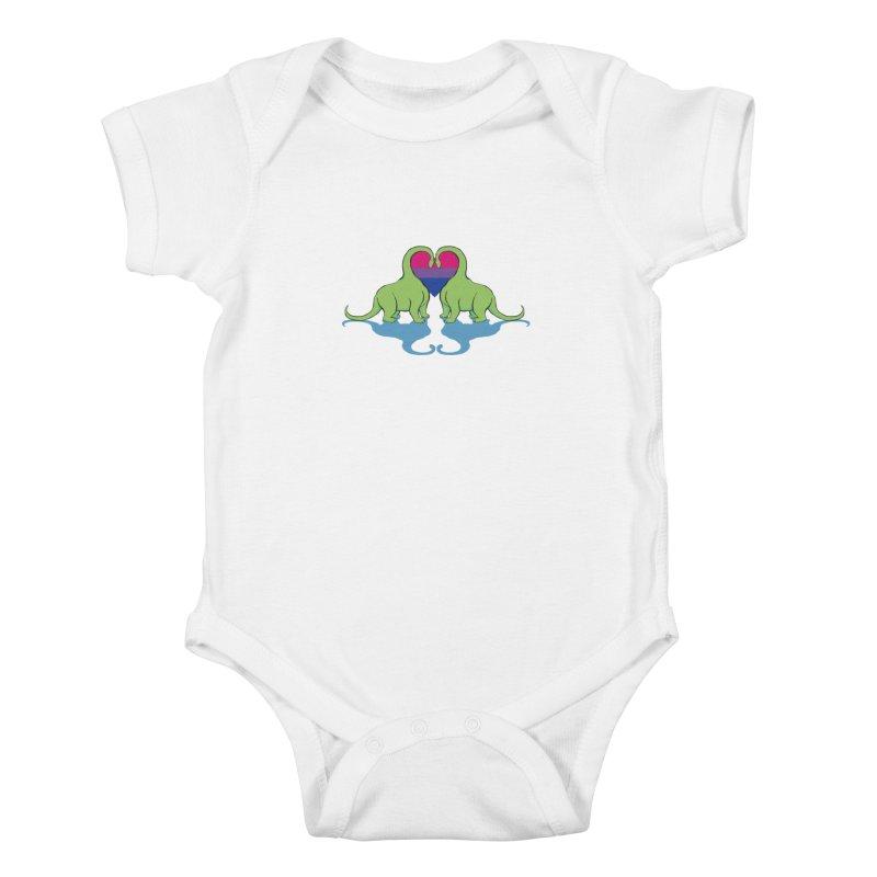 Bi Pride - Dino Love Kids Baby Bodysuit by alrkeaton's Artist Shop