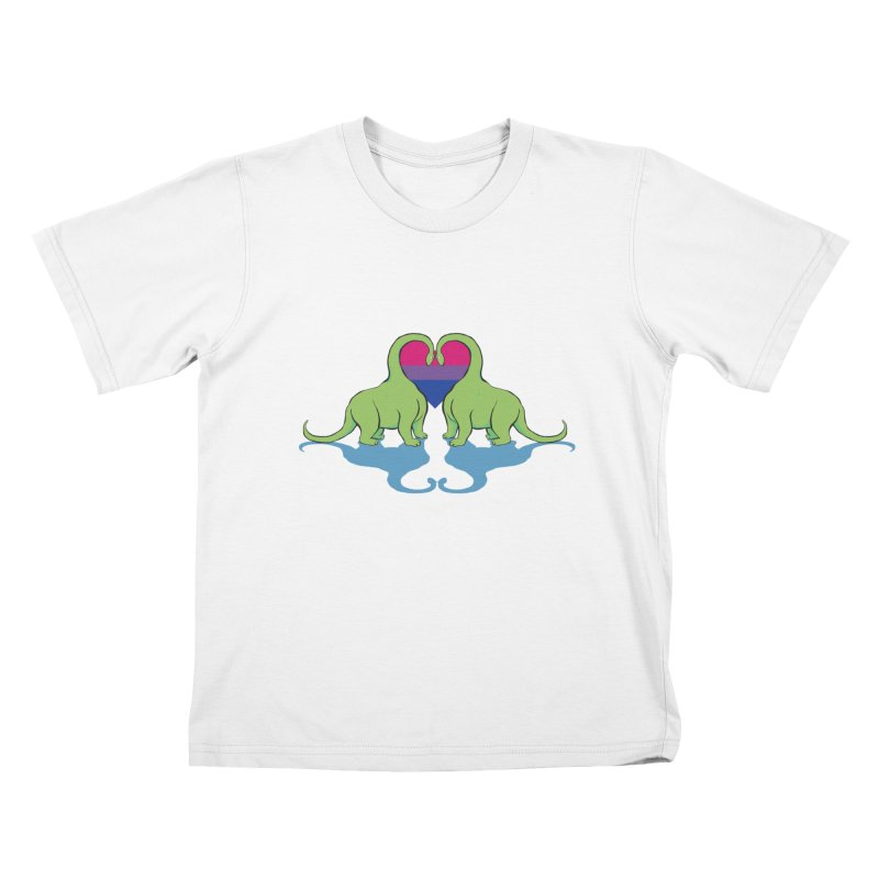 Bi Pride - Dino Love Kids T-Shirt by alrkeaton's Artist Shop