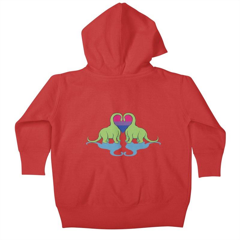 Bi Pride - Dino Love Kids Baby Zip-Up Hoody by alrkeaton's Artist Shop