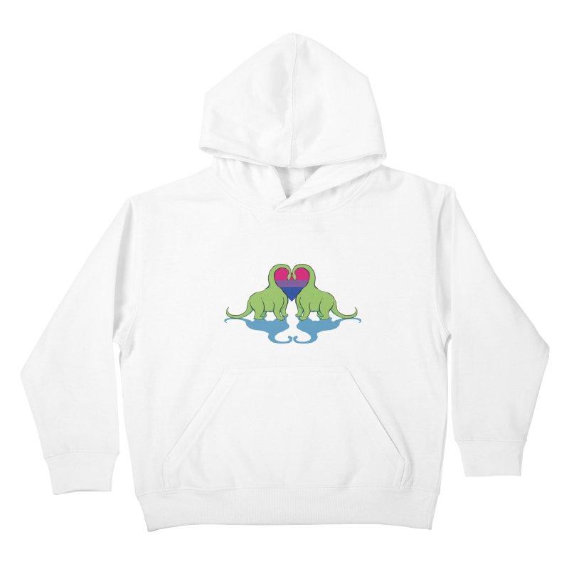 Bi Pride - Dino Love Kids Pullover Hoody by alrkeaton's Artist Shop