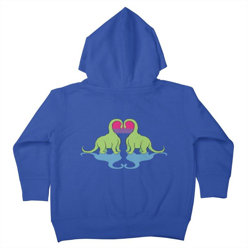 Bi Pride - Dino Love Kids Toddler Zip-Up Hoody by alrkeaton's Artist Shop