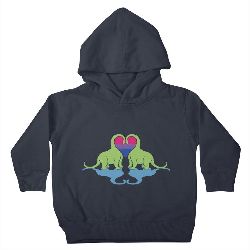 Bi Pride - Dino Love Kids Toddler Pullover Hoody by alrkeaton's Artist Shop
