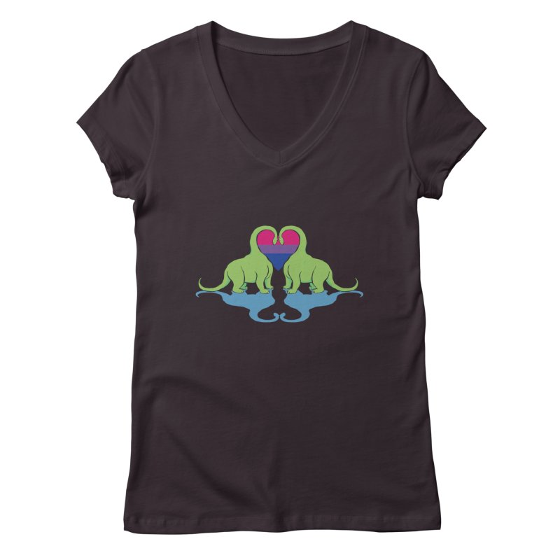 Bi Pride - Dino Love Women's V-Neck by alrkeaton's Artist Shop