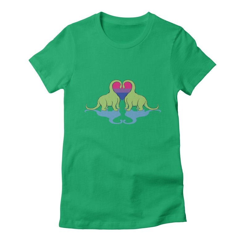 Bi Pride - Dino Love Women's Fitted T-Shirt by alrkeaton's Artist Shop