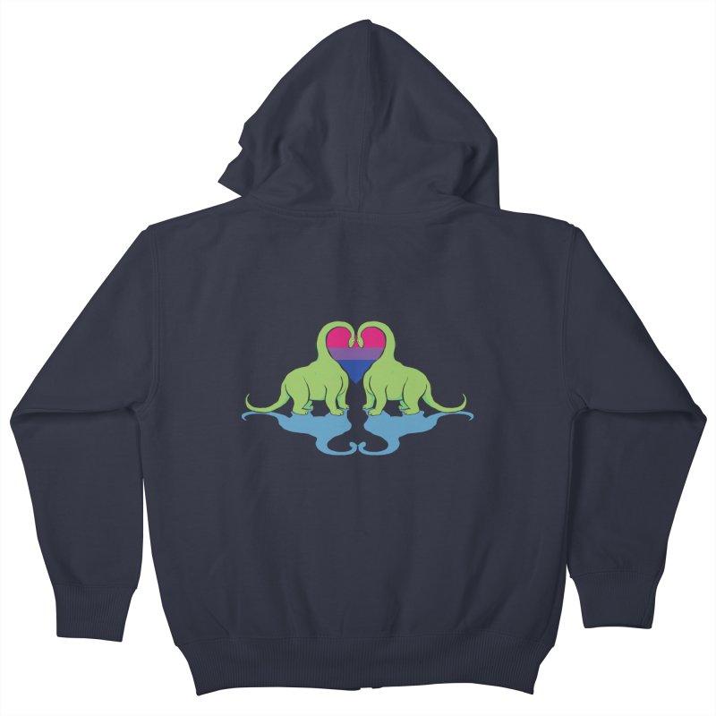 Bi Pride - Dino Love Kids Zip-Up Hoody by alrkeaton's Artist Shop