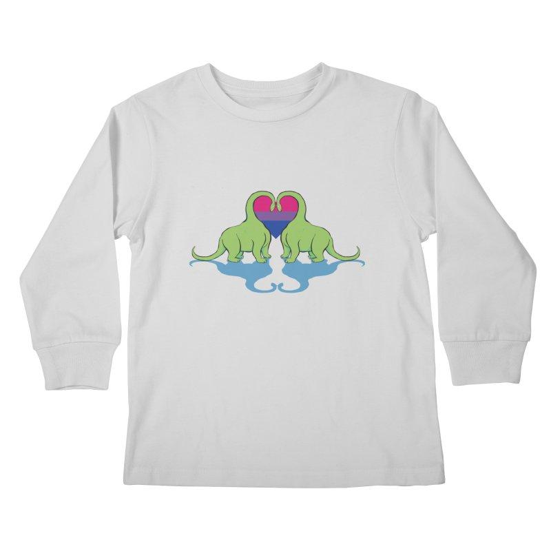 Bi Pride - Dino Love Kids Longsleeve T-Shirt by alrkeaton's Artist Shop