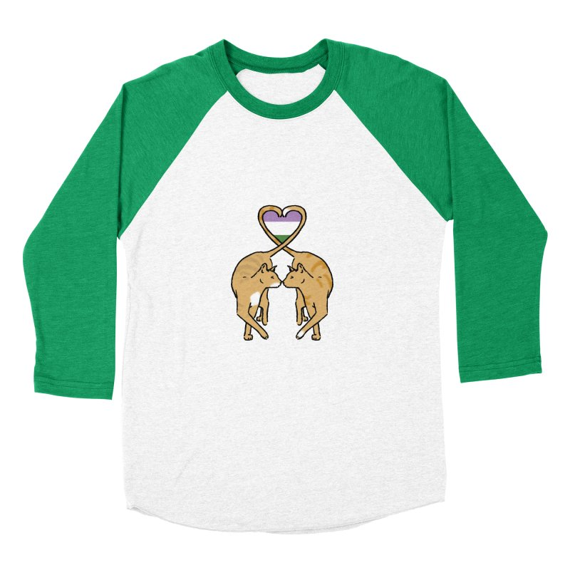 Genderqueer Pride - Love Cats Men's Baseball Triblend Longsleeve T-Shirt by alrkeaton's Artist Shop