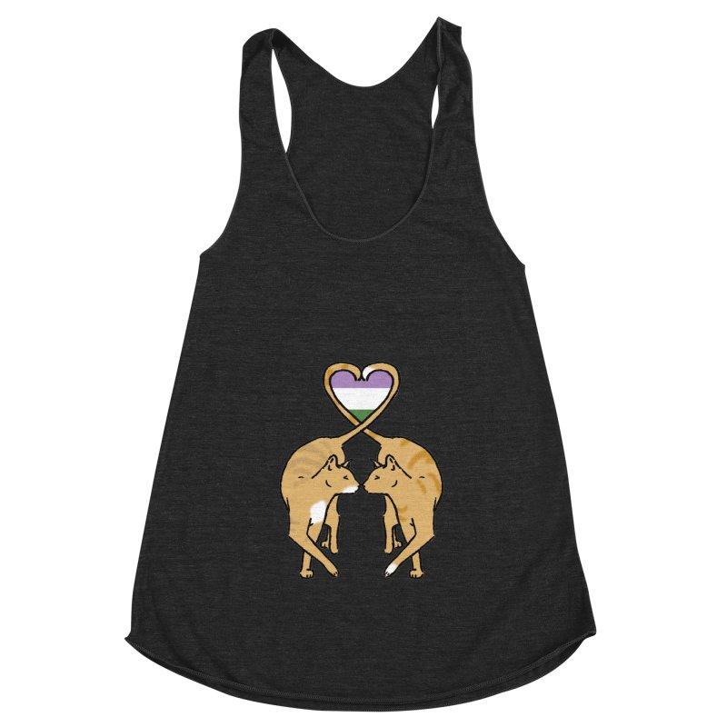 Genderqueer Pride - Love Cats Women's Racerback Triblend Tank by alrkeaton's Artist Shop