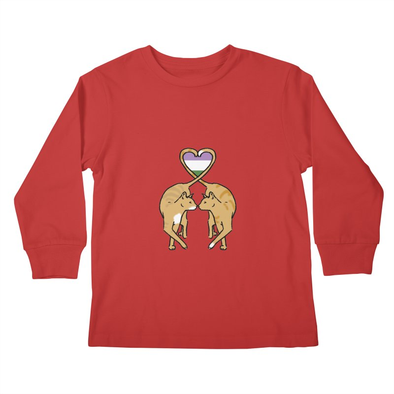 Genderqueer Pride - Love Cats Kids Longsleeve T-Shirt by alrkeaton's Artist Shop