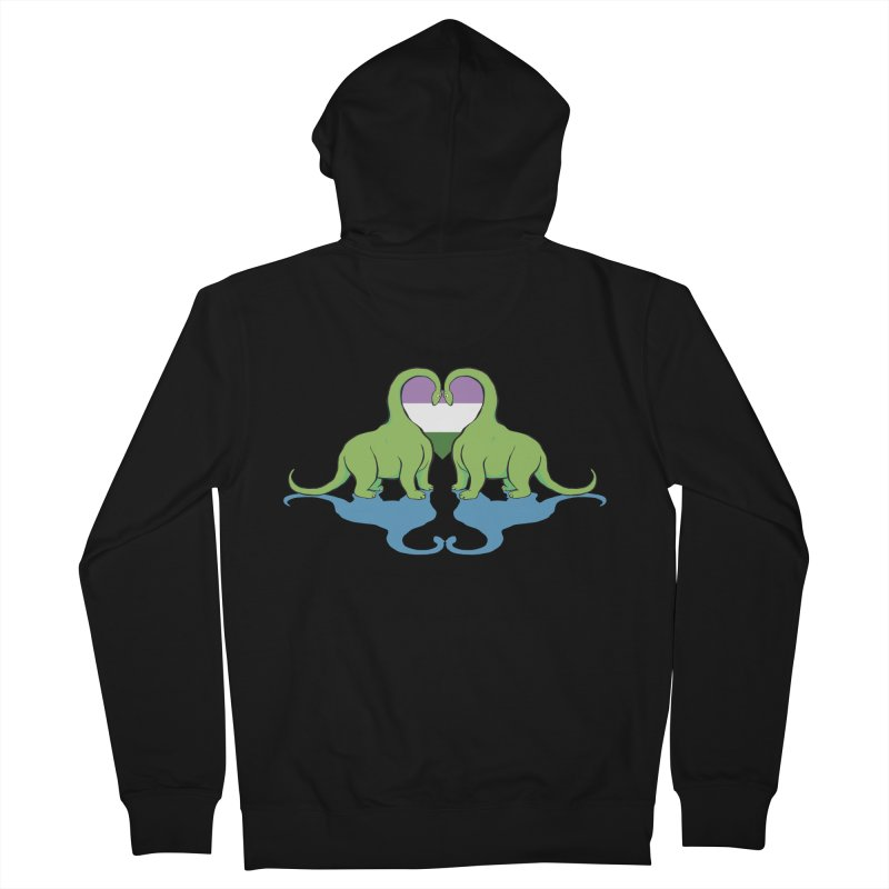 Genderqueer Pride - Dino Love Women's French Terry Zip-Up Hoody by alrkeaton's Artist Shop