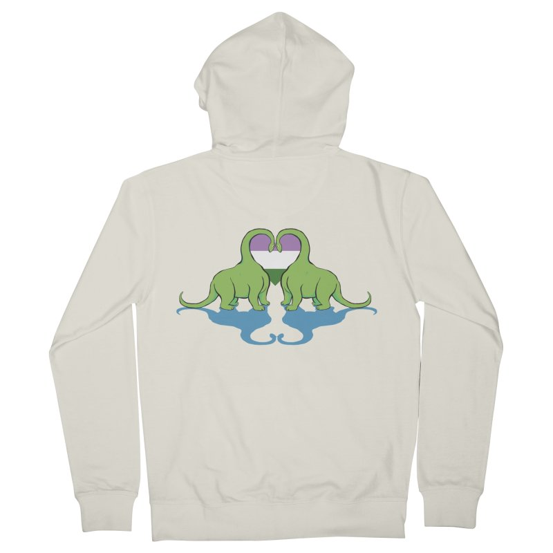 Genderqueer Pride - Dino Love Men's French Terry Zip-Up Hoody by alrkeaton's Artist Shop