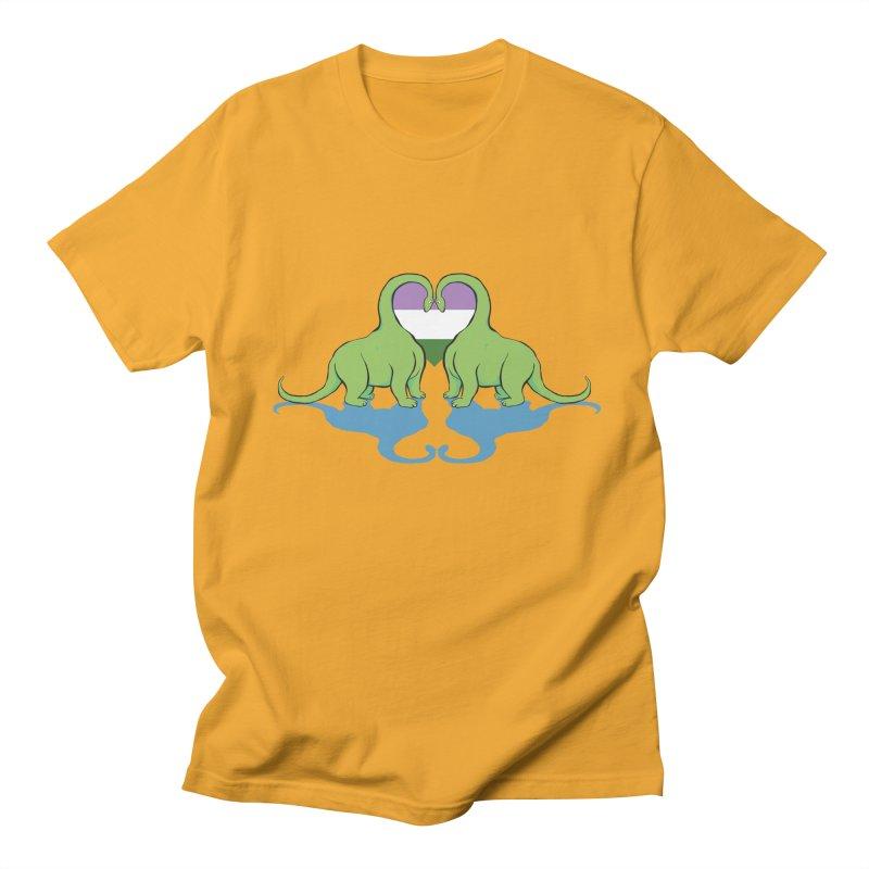 Genderqueer Pride - Dino Love Men's T-Shirt by alrkeaton's Artist Shop