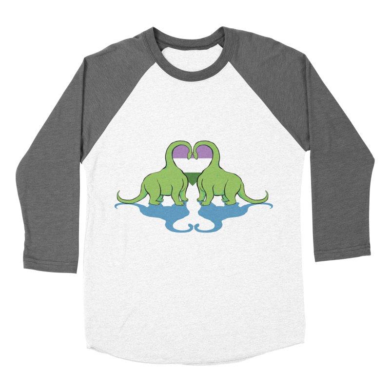 Genderqueer Pride - Dino Love Women's Baseball Triblend T-Shirt by alrkeaton's Artist Shop