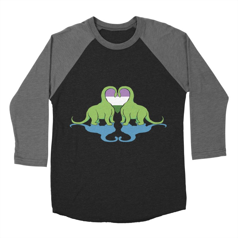 Genderqueer Pride - Dino Love Men's Baseball Triblend Longsleeve T-Shirt by alrkeaton's Artist Shop
