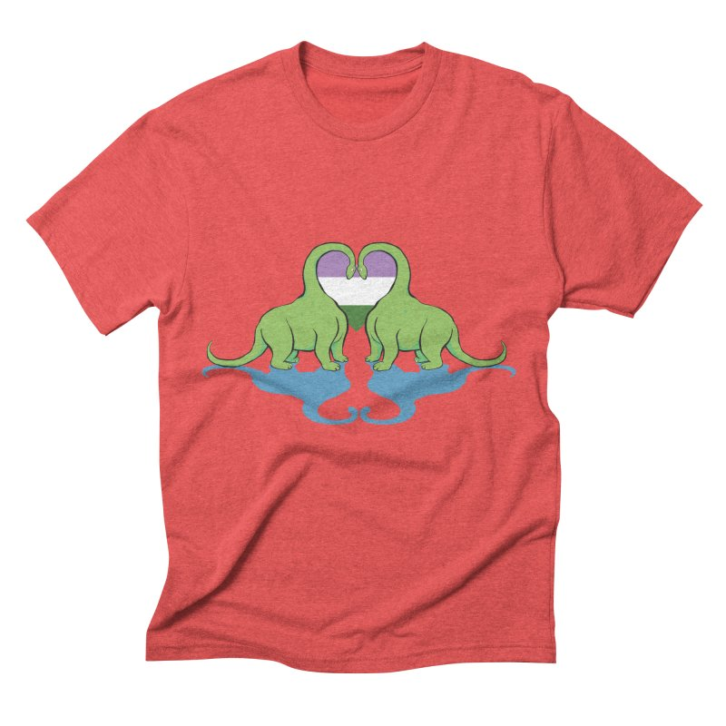 Genderqueer Pride - Dino Love Men's Triblend T-shirt by alrkeaton's Artist Shop