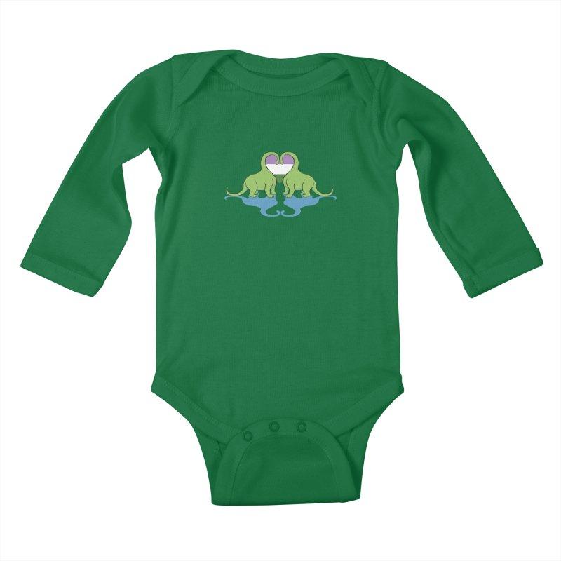 Genderqueer Pride - Dino Love Kids Baby Longsleeve Bodysuit by alrkeaton's Artist Shop