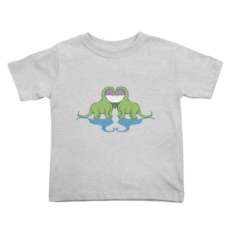Genderqueer Pride - Dino Love Kids Toddler T-Shirt by alrkeaton's Artist Shop