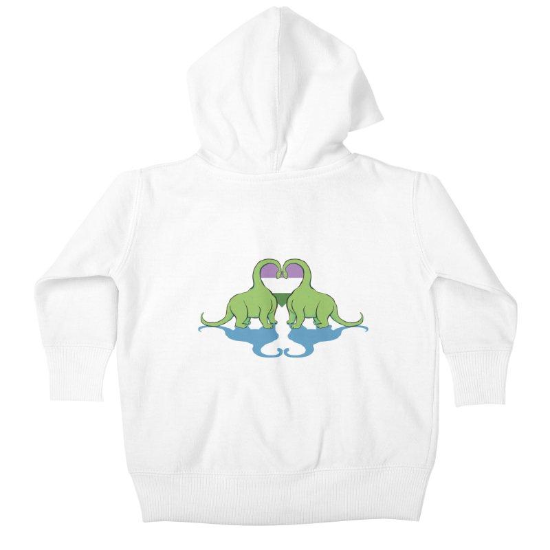 Genderqueer Pride - Dino Love Kids Baby Zip-Up Hoody by alrkeaton's Artist Shop
