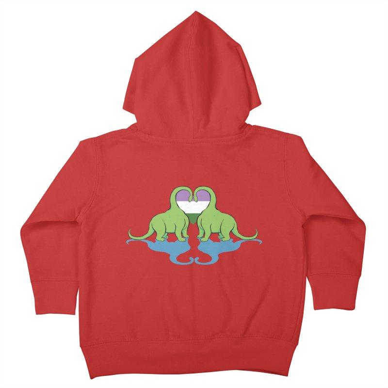 Genderqueer Pride - Dino Love Kids Toddler Zip-Up Hoody by alrkeaton's Artist Shop