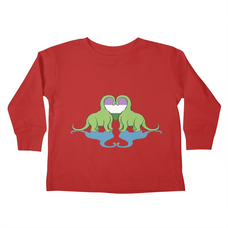 Genderqueer Pride - Dino Love Kids Toddler Longsleeve T-Shirt by alrkeaton's Artist Shop
