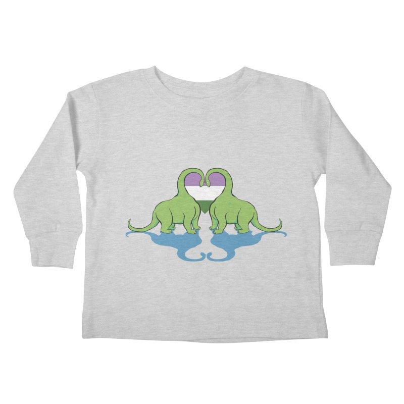 Genderqueer Pride - Dino Love Kids Toddler Longsleeve T-Shirt by alrkeaton's Artist Shop