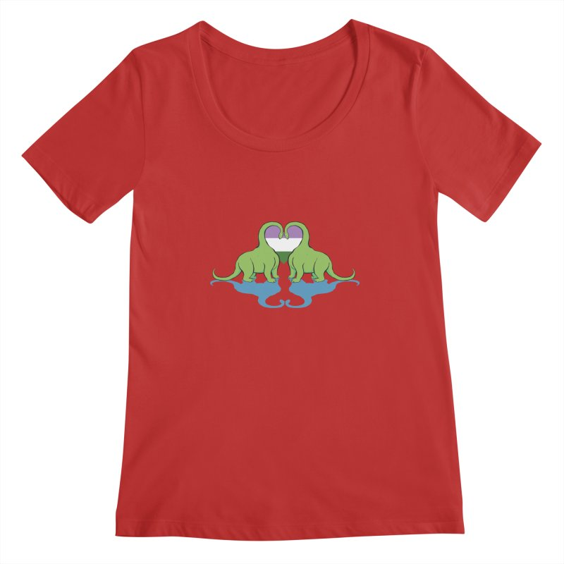 Genderqueer Pride - Dino Love Women's Regular Scoop Neck by alrkeaton's Artist Shop