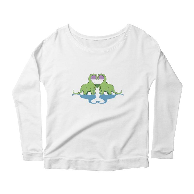 Genderqueer Pride - Dino Love Women's Scoop Neck Longsleeve T-Shirt by alrkeaton's Artist Shop