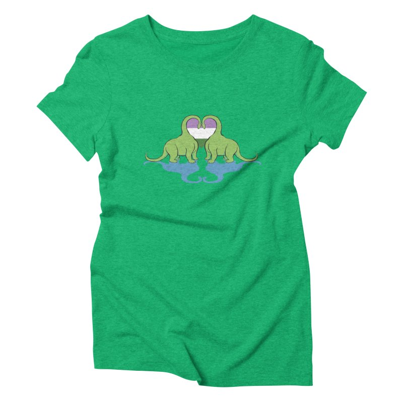 Genderqueer Pride - Dino Love Women's Triblend T-Shirt by alrkeaton's Artist Shop