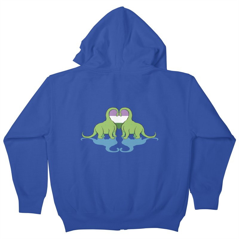 Genderqueer Pride - Dino Love Kids Zip-Up Hoody by alrkeaton's Artist Shop