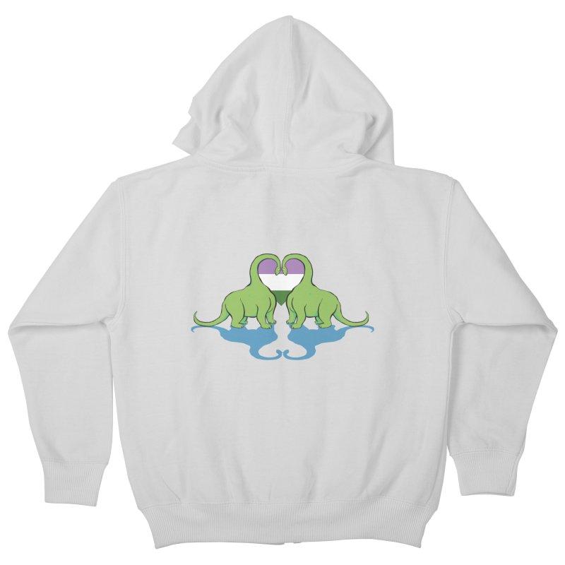 Genderqueer Pride - Dino Love Kids Zip-Up Hoody by alrkeaton's Artist Shop