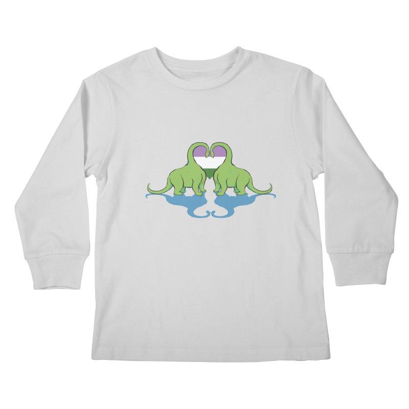 Genderqueer Pride - Dino Love Kids Longsleeve T-Shirt by alrkeaton's Artist Shop