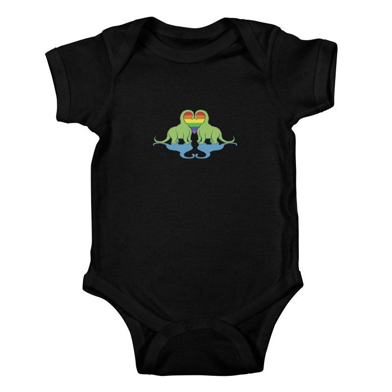 Gay Pride - Dino Love Kids Baby Bodysuit by alrkeaton's Artist Shop