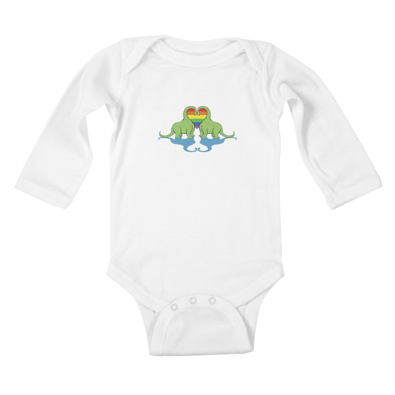 Gay Pride - Dino Love Kids Baby Longsleeve Bodysuit by alrkeaton's Artist Shop