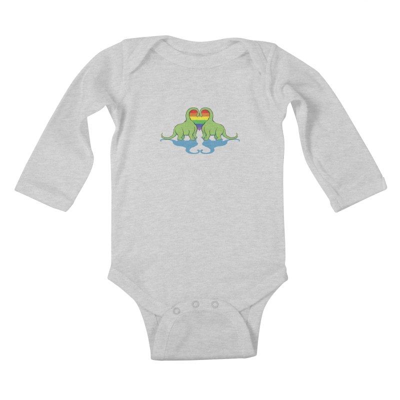 Gay Pride - Dino Love Kids Baby Longsleeve Bodysuit by alrkeaton's Artist Shop