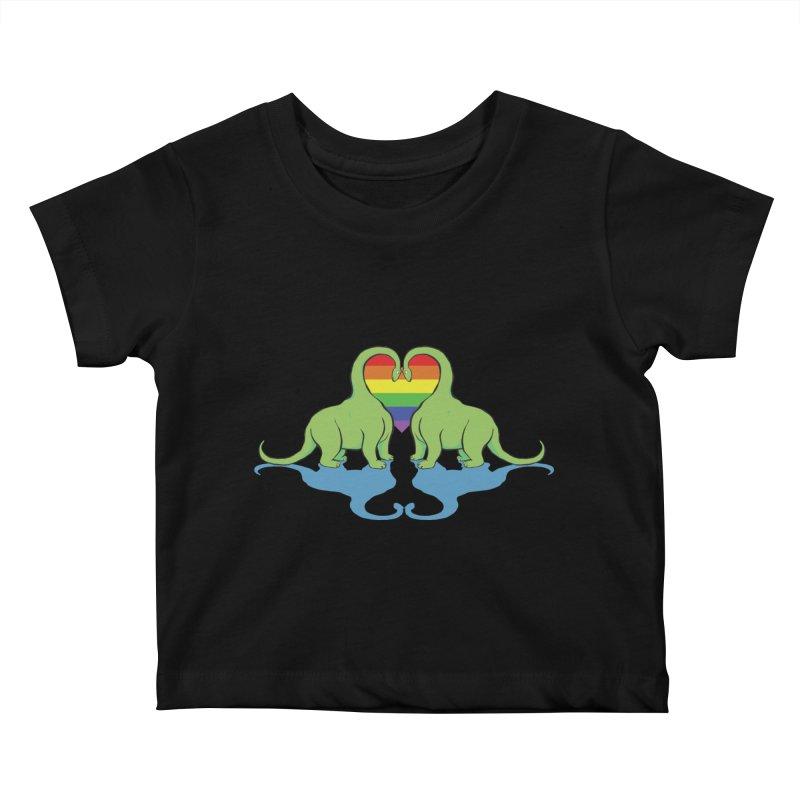 Gay Pride - Dino Love Kids Baby T-Shirt by alrkeaton's Artist Shop