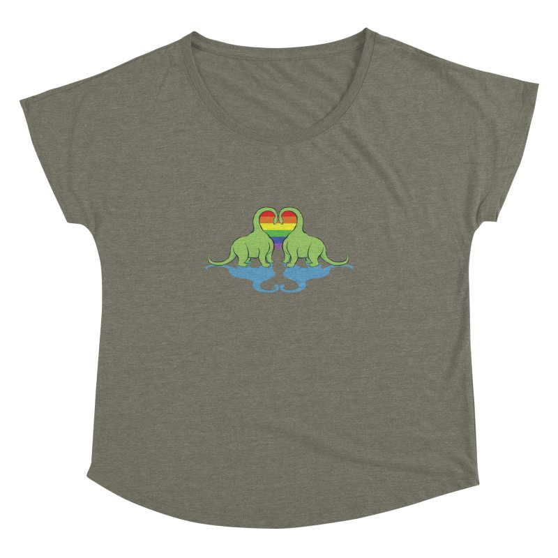 Gay Pride - Dino Love Women's Dolman Scoop Neck by alrkeaton's Artist Shop