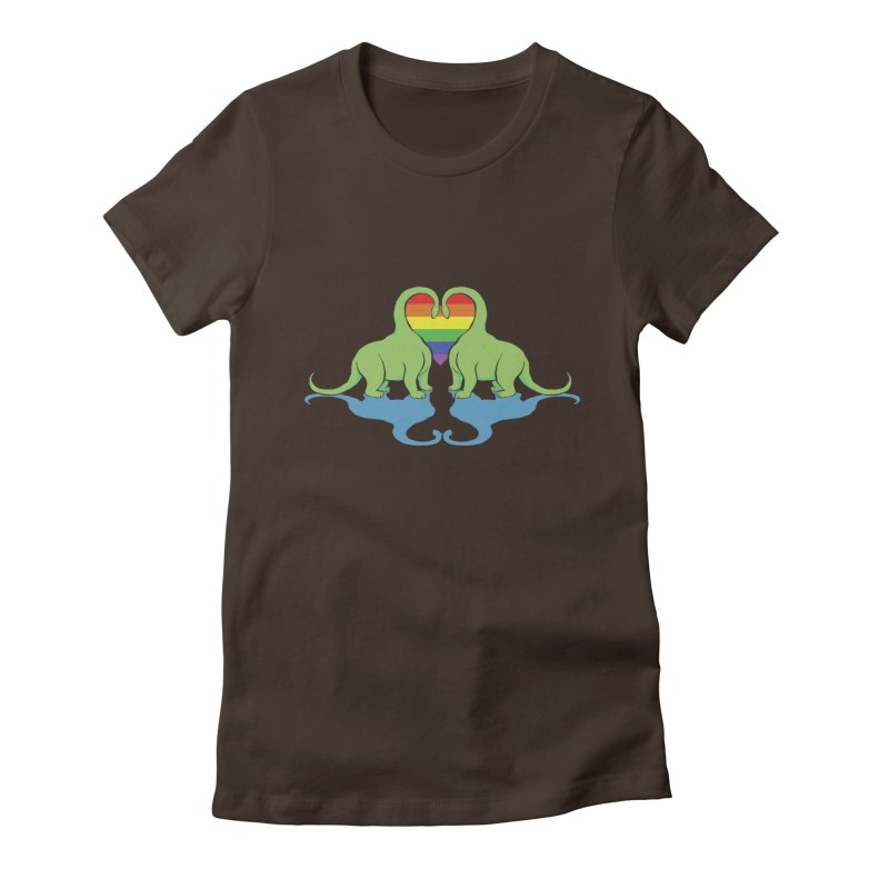 Gay Pride - Dino Love Women's Fitted T-Shirt by alrkeaton's Artist Shop