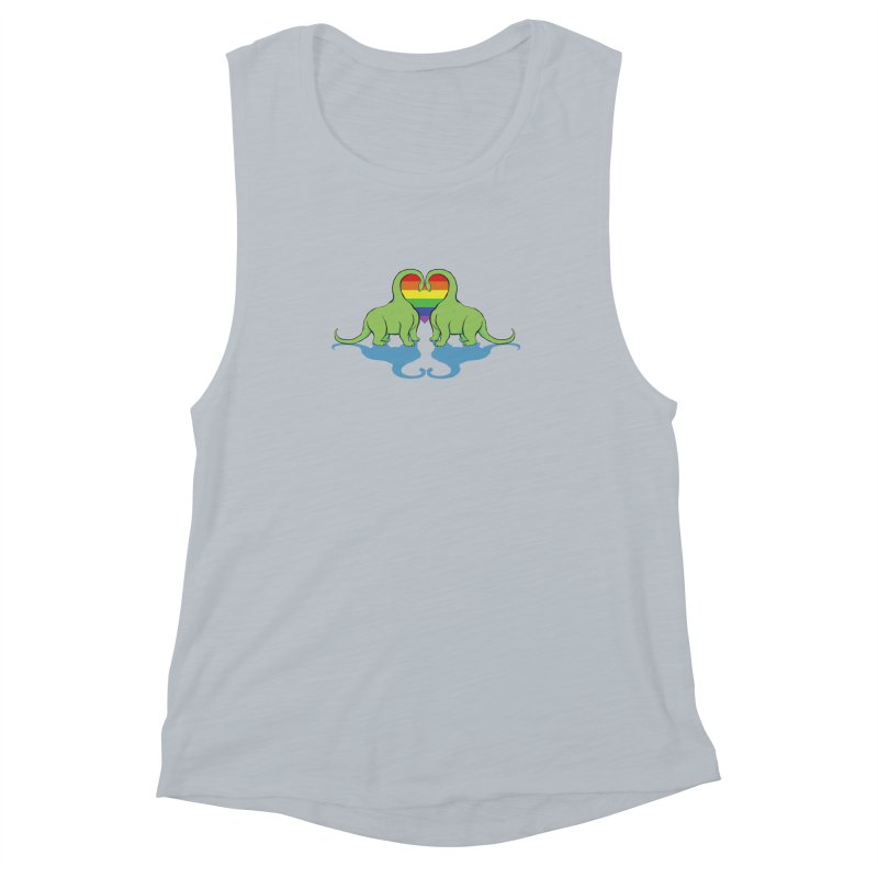 Gay Pride - Dino Love Women's Muscle Tank by alrkeaton's Artist Shop