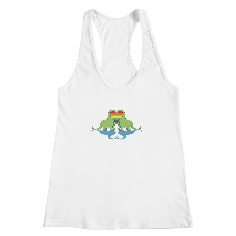 Gay Pride - Dino Love Women's Racerback Tank by alrkeaton's Artist Shop