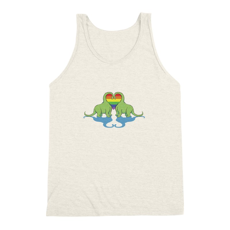 Gay Pride - Dino Love Men's Triblend Tank by alrkeaton's Artist Shop